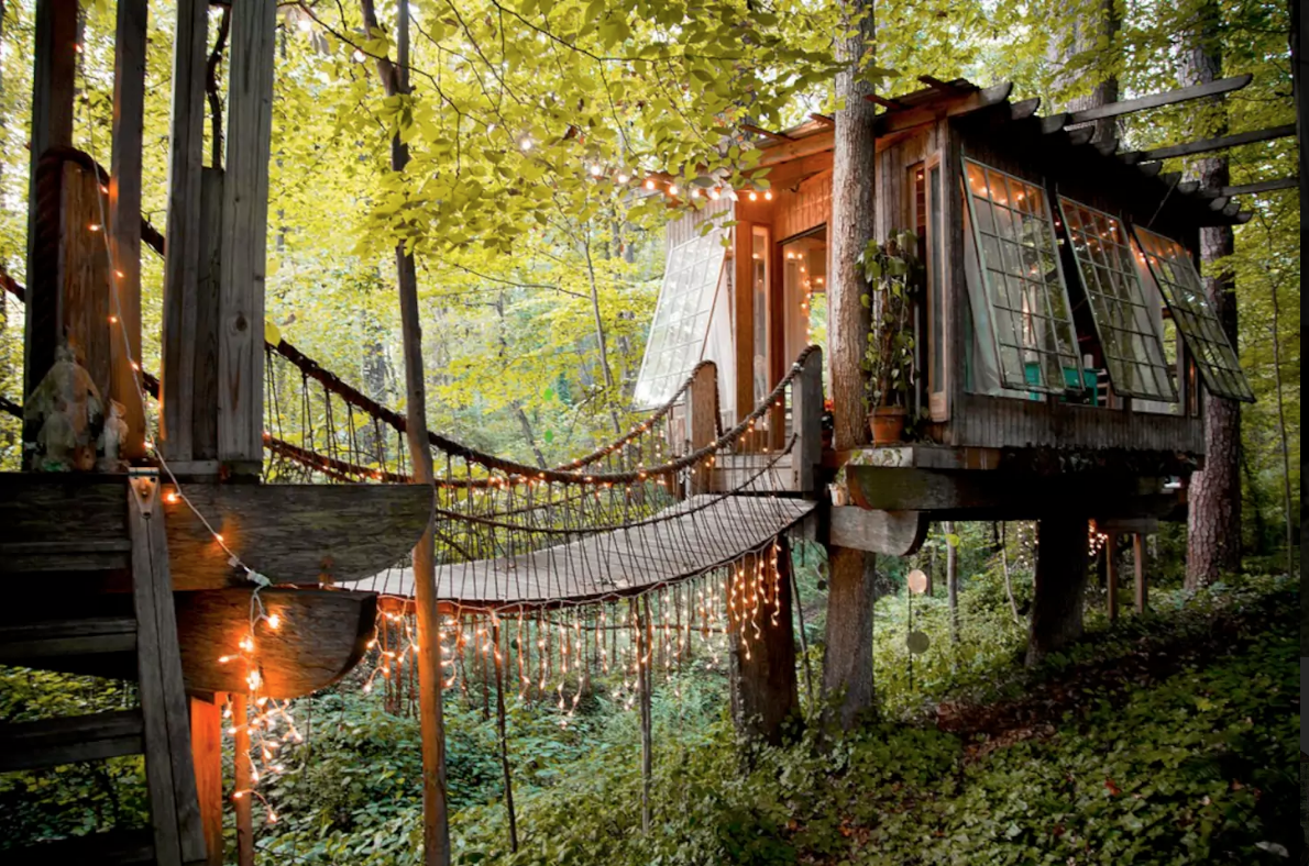You can see the tree which this tree house castle clings to through - Secluded Intown Treehouse
